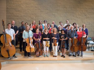 Adult Strings Weekend participants with their instruments